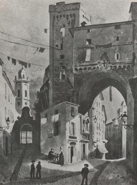 Porta Soprana a metà del XIX secolo. Acquerello di Domenico Cambiaso. A sinistra l'ingresso al Monastero di Sant'Andrea (oggi scomparso), mentre dall'arco della porta pendono alcuni degli anelli delle catene di Porto Pisano