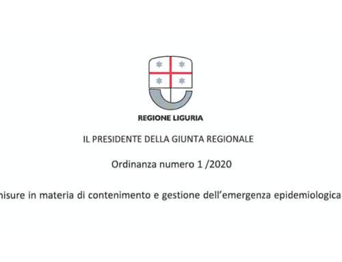 Coronavirus (SOSPESE ATTIVITA' SCUOLE etc.) – Scarica l'ordinanza della Regione Liguria.